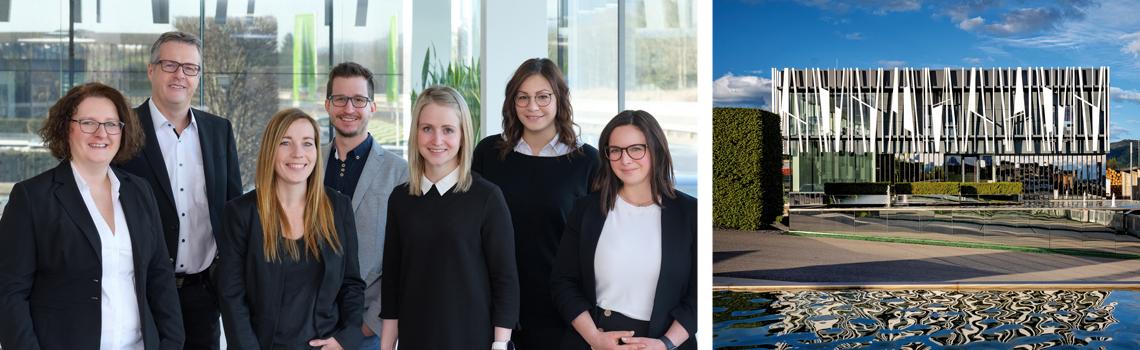 Das Team der Ausstattung und Westansicht des Verkaufs- & Ausstattungsszentrums Langenwang